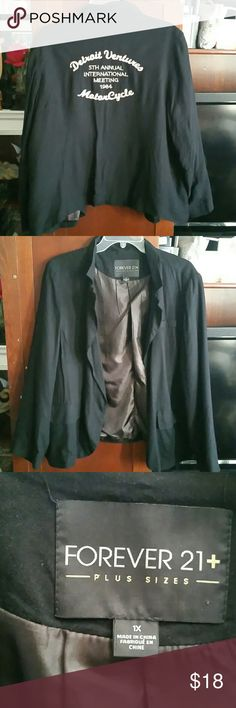 Forever 21 Blazer Look stylish with this Forever 21 plus size blazer featuring two front pockets, one button to close the blazer and embroidered writing on the back. No imperfections. Forever 21 Jackets & Coats Blazers