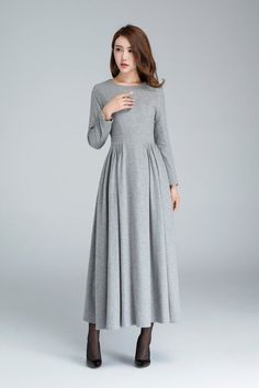 wool dress pleated dress grey dress long dress winter by xiaolizi Warm Dresses, Winter Dresses, Women's Dresses, Dress Winter, Dresses Online, Short Beach Dresses, Dress Long, Backless Maxi Dresses, Handmade Dresses