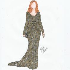Christina Hendricks - Emmy Awards 2015   Quer ver o passo a passo desse croqui e materiais usados? Tem post novo no Blog contando tudo (http://croquiandomoda.blogspot.com.br/2015/09/os-looks-do-emmy-awards-2015-croquiando.html) ✏ Espero que gostem!