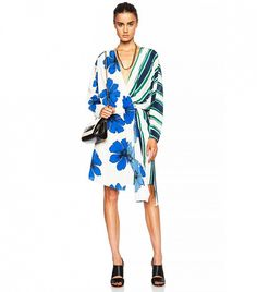 Chloé Striped on Silk Crepe de Chine Wrap Dress