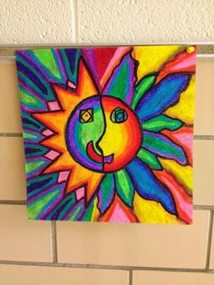 Students studied the Aztecs and also took a look a the Aztec Sun Stone and how it was inspiration for pieces of art. Students learned how t. 2nd Grade Art, Third Grade, Art Simple, Art And Craft Videos, Art And Craft Design, Sun Art, Arts And Crafts Movement, Elements Of Art, Art Lesson Plans