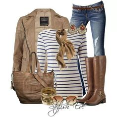 Outfit 4 have jeans, black and white T, brown cardi, could wear brown clogs instead of boots. No scarf.