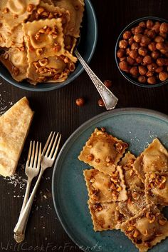 pumpkin ravioli with hazelnut brown butter sauce