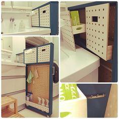 DIY,ダイソー,セリア,無印良品,IKEA,Bathroom,パンチングボード,ティッシュケース,つっぱり棒,掃除道具,収納,洗面所,マイクロファイバークロス,隙間収納,有孔ボード,たくさんのいいねありがとうございます♡ shinoの部屋