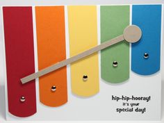 Happy Birthday Xylophone card for girl or boys First Birthday Stampin Up. $2.50, via Etsy.