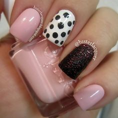 Nail Recipe: POWDER Pink Nails w/ Black Caviar w/ Red Glitter Accented Nail & 1 Black & Cream Polka Dots Accented NAIL Art...