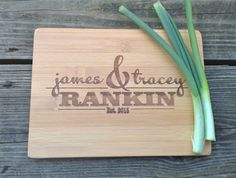 Personalized Monogram BAR Cutting Board - Small Engraved BAMBOO Cheese Board or Bar Board