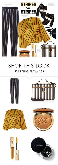 """""""stripes on stripes"""" by mycherryblossom ❤ liked on Polyvore featuring Thom Browne, Henri Bendel, Topshop, Too Faced Cosmetics, Yves Saint Laurent and Bobbi Brown Cosmetics"""