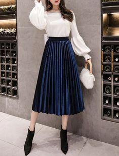 New navy blue pleated metallic velvet women midi skirt autumn winter office work - - Blue Skirt Outfits, Midi Skirt Outfit, Winter Skirt Outfit, Midi Skirts, Navy Blue Skirts, Navy Blue Outfits, Maroon Skirt Outfit, Pleated Skirt Outfit Casual, Office Skirt Outfit