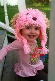 Shaggy crochet puppy hat, child animal hat, custom color doggie halloween costume, pink puppy baby hat by KnitNKnots on Etsy Crochet Kids Hats, Crochet Baby, Crocheted Hats, Puppy Hats, Pink Wig, Animal Hats, Dress Up Costumes, Baby Puppies, Shaggy