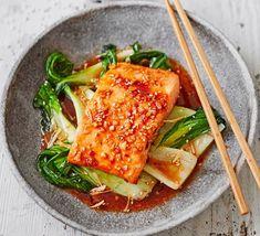 Teriyaki salmon with sesame pak choi Salmon Recipes, Seafood Recipes, Asian Recipes, Ethnic Recipes, Bbc Good Food Recipes, Easy Healthy Recipes, Cooking Recipes, Fish Recipes Bbc, Simple Fish Recipes