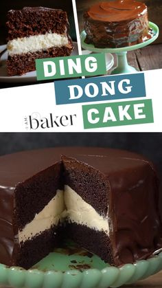 Recreating the best dessert recipe of your favorite childhood treat with this Ding Dong Cake! This recipe has a rich chocolate cake, creamy filling and a heavenly chocolate coating on the outside. You should try this delicious and easy dessert to impress! Easy Cake Recipes, Best Dessert Recipes, Easy Desserts, Sweet Recipes, Cake Filling Recipes, Cupcake Recipes, Pasta Recipes, Baking Recipes, Salad Recipes