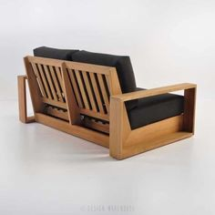 A deep loveseat that pays homage to mid century styling, with some contemporary flair, the Cabana Teak Loveseat is a wonderful piece of outdoor furniture. Diy Indoor Furniture, Handmade Wood Furniture, Rustic Bedroom Furniture, Outdoor Furniture Plans, Deck Furniture, Woodworking Furniture, Furniture Design, Furniture Layout, Wooden Sofa Designs
