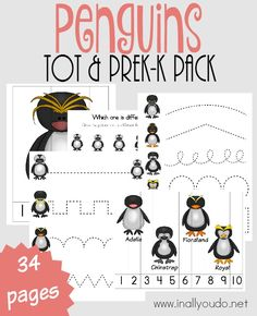 Help little ones learn more about the amazing Penguin, with this SUPER CUTE Penguins Tot & PreK-K Pack! {34 total pages} :: www.inallyoudo.net