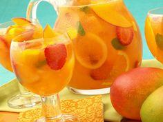 Mango Strawberry Sangria. My three favorite things !