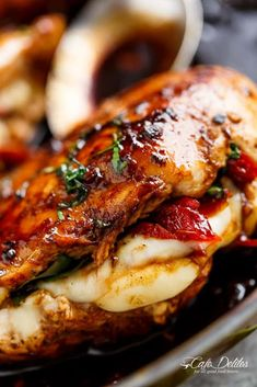 Caprese Stuffed Balsamic Chicken is a twist on Caprese, filled with both fresh AND Sun Dried Tomatoes for a flavour packed chicken! Caprese Stuffed Balsamic Chicken Recipe, Balsamic Chicken Recipes, Easy Chicken Recipes, Stuffed Chicken Recipes, Italian Stuffed Chicken, Baked Caprese Chicken, Caprese Recipe, Cooking Recipes, Healthy Recipes