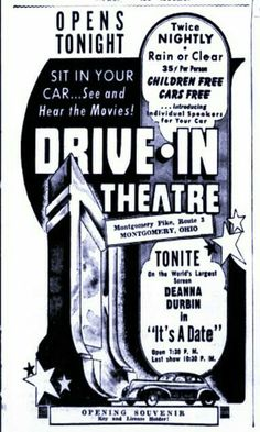 1940 Starlite Drive In Theatre, Drive In Movie Theater, Vintage Ads, Vintage Signs, Outdoor Cinema, Filling Station, Car Themes, Free Cars, The Old Days