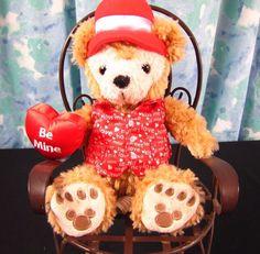 Duffy The Disney Bear Valentine Be Mine Hidden Mickey Brown Red Hat Heart Vest #Disney