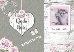 Trouwkaart met wit houten hart - Trouwkaarten - Kaartje2go