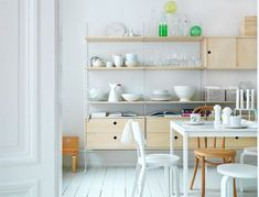 The string cabinet features two drawers, and it is suitable to be used with the String System floor panels. String System is a flexible shelving system that Swedish architect Nils Strinning designed in Modular Shelving, Shelving Systems, Open Shelving, Storage Shelving, Modular Storage, Swedish Kitchen, Country Kitchen, Country Farmhouse, Stolmen Ikea