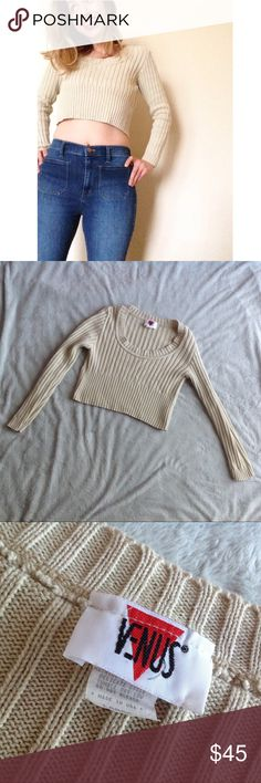 Vintage 90s Minimal Clueless Cropped Sweater Top You'll look like a virgin who can't drive (aka Cher Horowitz) in this amazing cropped sweater from the 90s. Cream oatmeal minimal color that will go with everything. Thick ribbed knit. 100% cotton. Long sleeves with scoop neck and banded hem that hits at ribcage level. By Venus. Size tag says large, but a better fit for a modern small, given measurements. See photos. Great vintage condition. Vintage Tops Crop Tops