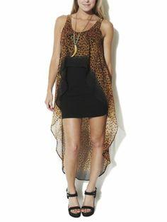Arden B. Women's Leopard High-low Dress M Black Pattern