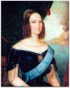 """Teresa Cristina (Nápoles, 14 de março de 1822 – Porto, 28 de dezembro de 1889), apelidada de """"Mãe dos Brasileiros"""", foi a esposa do imperador D. Pedro II e imperatriz consorte do Império do Brasil de 1843 até a abolição da monarquia em 1889. http://sergiozeiger.tumblr.com/post/113619067163/clodomiro-amazonas-monteiro-taubate-14-de-marco Teresa Cristina por José Correia de Lima, c. 1843. Este retrato atraiu D. Pedro e o fez aceitar o casamento. Foi enviado a Pedro um retrato que muito…"""