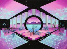 Original Geometric Painting by Irene Lopez Vaporwave Wallpaper, Color Celeste, Vaporwave Art, Geometric Painting, Neon Aesthetic, Retro Waves, Glitch Art, Abstract Expressionism Art, Rave