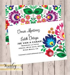 Floral, Folk, Fiesta, Wedding Save the Date, Fiesta Save the Date, Hispanic, Mexican Wedding Save the Date, Digital Design, Printable by TownleyDesigns on Etsy