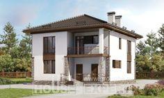 170-005-П Проект двухэтажного дома, классический коттедж из бризолита