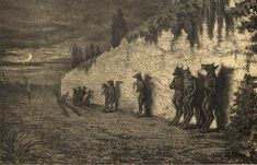 """""""Werewolves leaning against the wall of a cemetery at night"""" 1858, Artist Maurice Sand. Freaking Hilarious, The Other Side, Macabre, Werewolf, Cemetery, Funny Images, Location History, Cool Photos, Moose Art"""