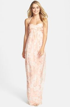 Amsale Print Crinkled Silk Chiffon Halter Gown available at #Nordstrom SO GORGEOUS! and trendy.. but might be too spring-ish.. then again, this is Florida and I'm getting married in a garden, under an oak tree.