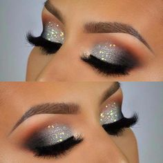 Silber Sparkle Eye Makeup für Weihnachten oder NYE - Makeup - Make up augen Sparkle Eye Makeup, Silver Glitter Eye Makeup, Smokey Eye Makeup Look, Dramatic Eye Makeup, Eyeshadow Makeup, Makeup Brushes, Makeup Eyebrows, Silver Eyeliner, Makeup Remover