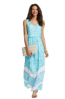 Palm Leaf Scarf Print Maxi Dress