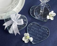 """Good Wishes"" Heart Glass Coasters at WeddingFavors.org"