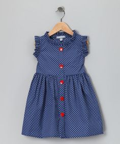 Take a look at this French Blue Polka Dot Picnic Dress - Infant, Toddler &…
