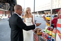 The Knot, black, bride, city, grey, groom, happy, highline, hot dog stand, jewish, moment, New York, outdoors, pretzel, red, smiling, street, suit, urban, Monique Lhuillier,  wedding dress, white, yellow, 1. Art Beauty Life: Jenny Ebert Photography captures the best documentary wedding photos in New York City.