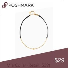 """Stella & Dot Mia Choker/Collar ❤️ NIB SOLD OUT on S&D website! Add this great piece to your everyday wardrobe. Choker necklaces have made a comeback in the most stylish way! A shiny gold curved bar with circular detail backed by GENUINE LEATHER. 13"""" with 2"""" extender and lobster clasp closure. Bundle this item with others in my closet for an additional discount!! Stella & Dot Jewelry Necklaces"""