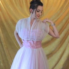 Sheer Tulle Jacket with 1950s White Pink Prom by SusieQsFlashback