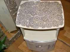 Decoupage and Annie Sloan bedside cabinet and mirror, unique and lovely