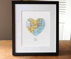 Miami Florida Heart Map Print, Miami City Map Print, Custom City Art, Florida Art Print