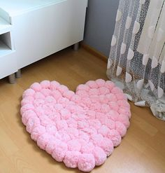 Pom Pom Rug - Romantic Rug - Girls Room Rug - Baby Shower Gift - Pink Shabby Rug…