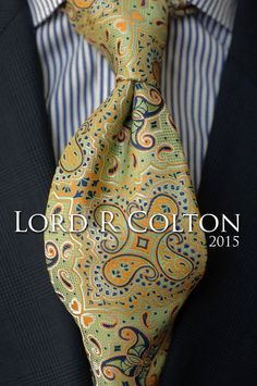 Lord R Colton Masterworks Tie - Lime & Navy Cape Horn Silk Necktie - $195 New #LordRColton #NeckTie