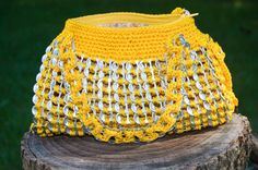 Upcycled Golden Yellow Crochet Pop Tab Hand Bag by Flor7 on Etsy, $40.00
