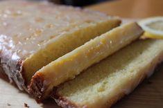 Lemon pound cake with glaze.