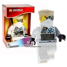 """Lego Year 2014 Ninjago Masters of Spinjitzu Series 8"""" Tall Figure Alarm Clock Set# 9003080 - ZANE with Moving Arms and Legs Plus Backlight Display"""