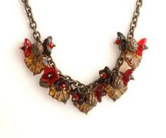Red Necklace Red Flower Necklace Red Bead by BijouxLaudine on Etsy, $38.00