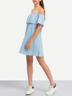 robe épaule dénudée en denim -bleu clair -French SheIn(Sheinside)