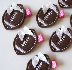 Chocolate Brown and Hot Pink Football Felt Hair Clip - Sports Felt Clippies - Perfect for fall and back to school. $3.25, via Etsy.