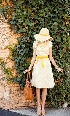 summer dress with a yellow sash